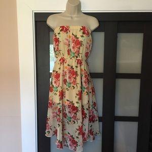 Papaya Floral Strapless Dress Sz M Yellow Pink
